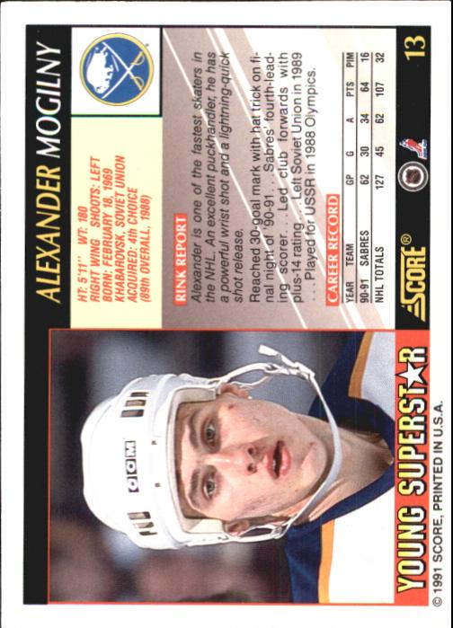 1991-92 Score Young Superstars #13 Alexander Mogilny back image