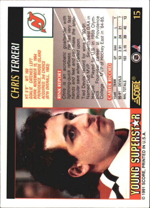 1991-92 Score Young Superstars #15 Chris Terreri back image
