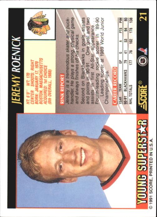 1991-92 Score Young Superstars #21 Jeremy Roenick back image