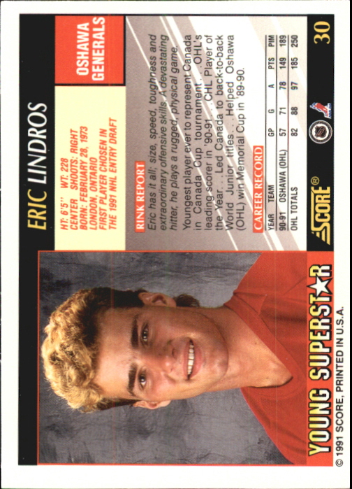 1991-92 Score Young Superstars #30 Eric Lindros back image