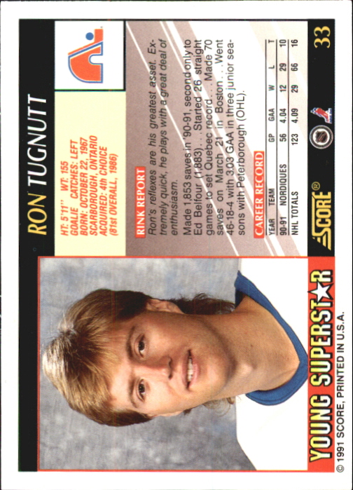 1991-92 Score Young Superstars #33 Ron Tugnutt back image