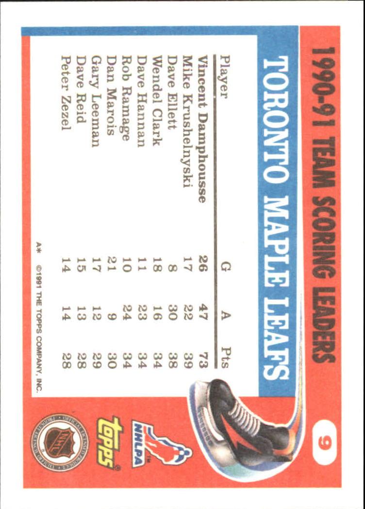 1991-92 Topps Team Scoring Leaders #9 Vincent Damphousse back image