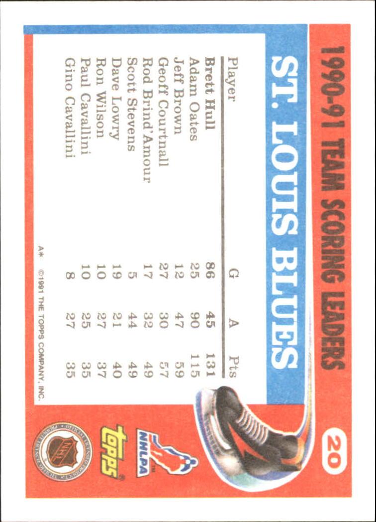 1991-92 Topps Team Scoring Leaders #20 Brett Hull back image