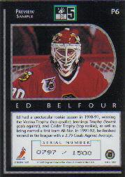 1992 High-5 Previews #P6A Ed Belfour AU/1500 back image