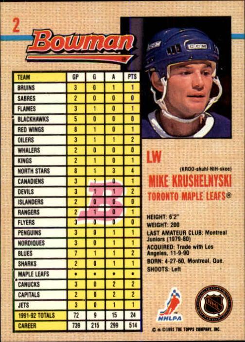 1992-93 Bowman #2 Mike Krushelnyski back image