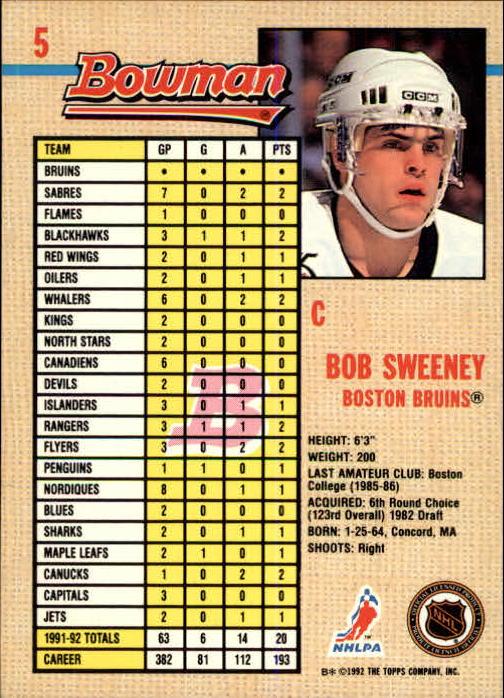 1992-93 Bowman #5 Bob Sweeney back image