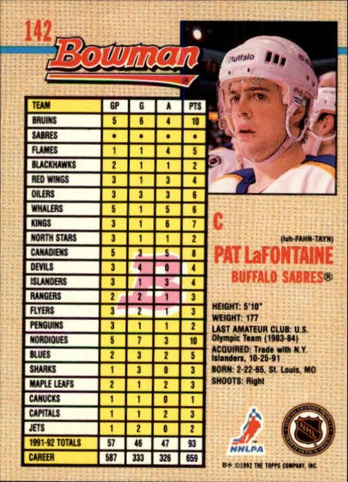 1992-93 Bowman #142 Pat LaFontaine back image
