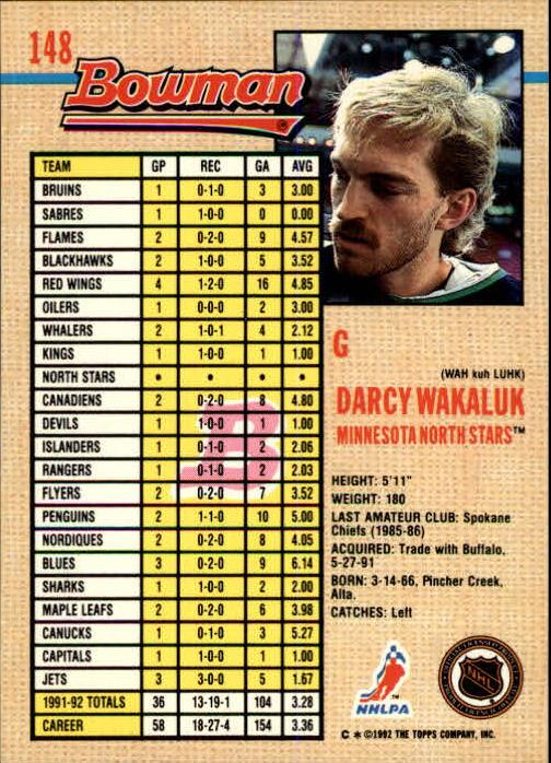 1992-93 Bowman #148 Darcy Wakaluk back image