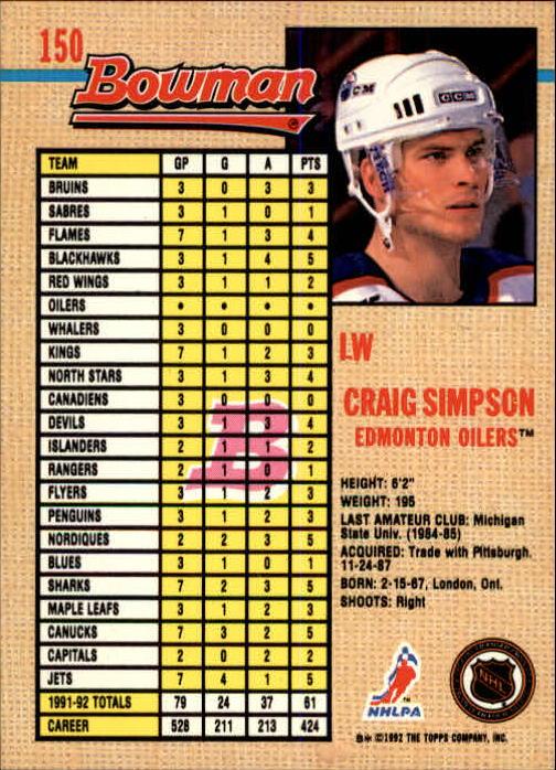 1992-93 Bowman #150 Craig Simpson back image