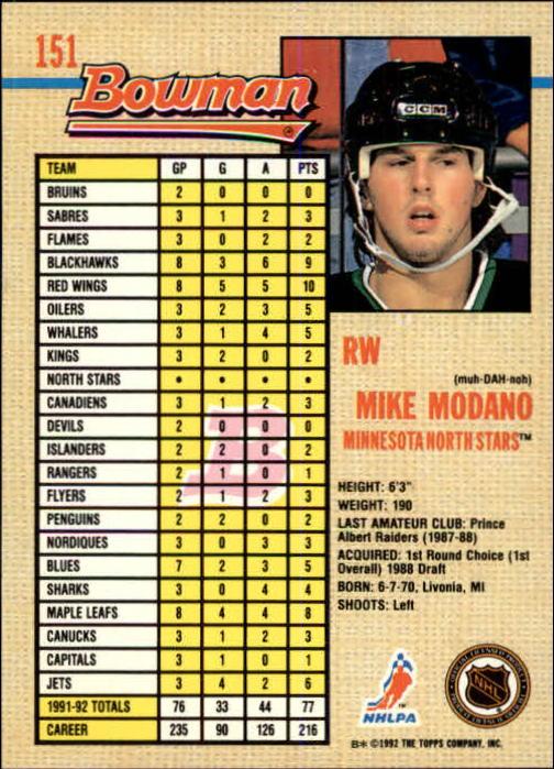 1992-93 Bowman #151 Mike Modano back image
