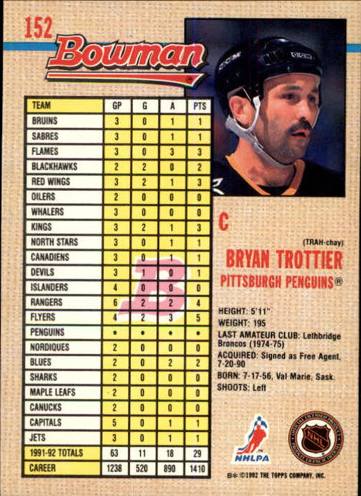 1992-93 Bowman #152 Bryan Trottier back image