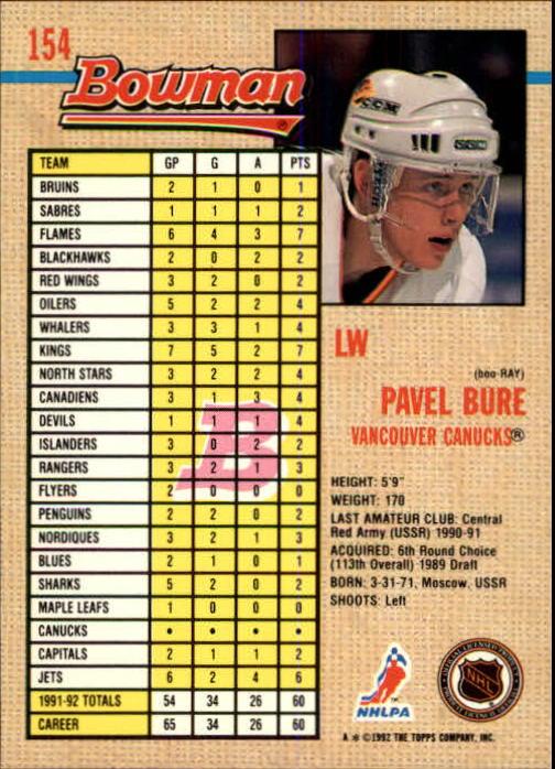 1992-93 Bowman #154 Pavel Bure back image