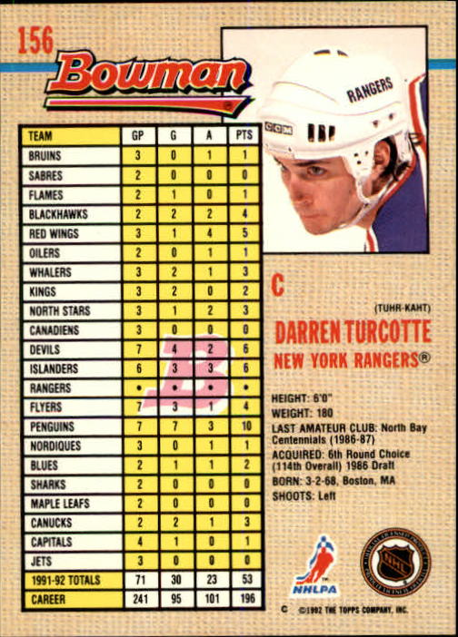 1992-93 Bowman #156 Darren Turcotte back image