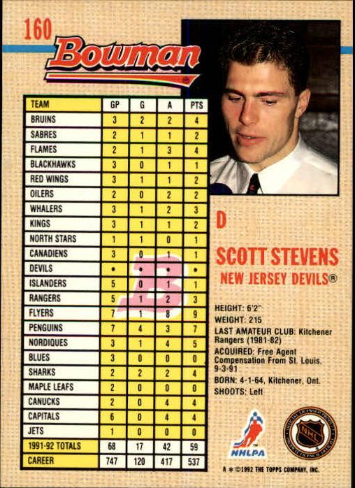 1992-93 Bowman #160 Scott Stevens back image