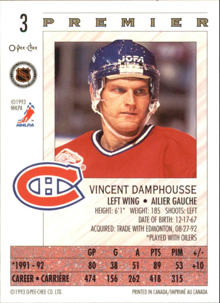 1992-93 OPC Premier #3 Vincent Damphousse back image