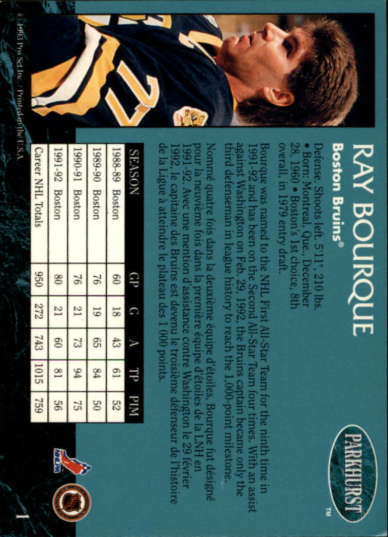 1992-93 Parkhurst #1 Ray Bourque back image