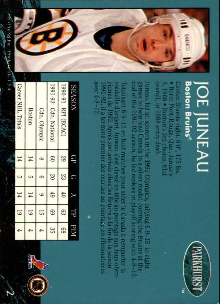 1992-93 Parkhurst #2 Joe Juneau back image