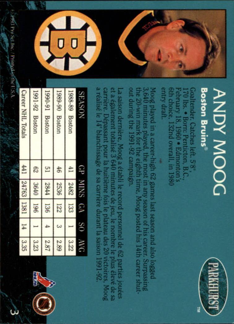 1992-93 Parkhurst #3 Andy Moog back image