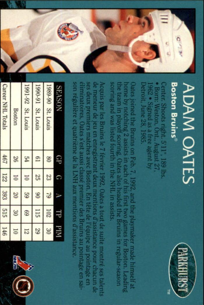 1992-93 Parkhurst #4 Adam Oates back image