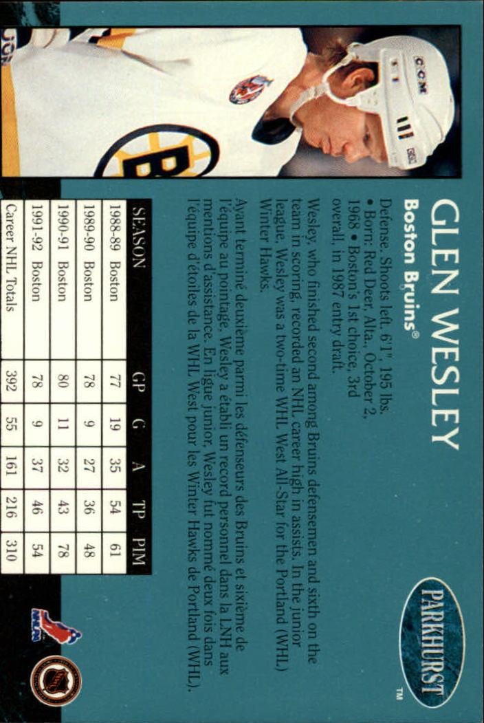 1992-93 Parkhurst #6 Glen Wesley back image