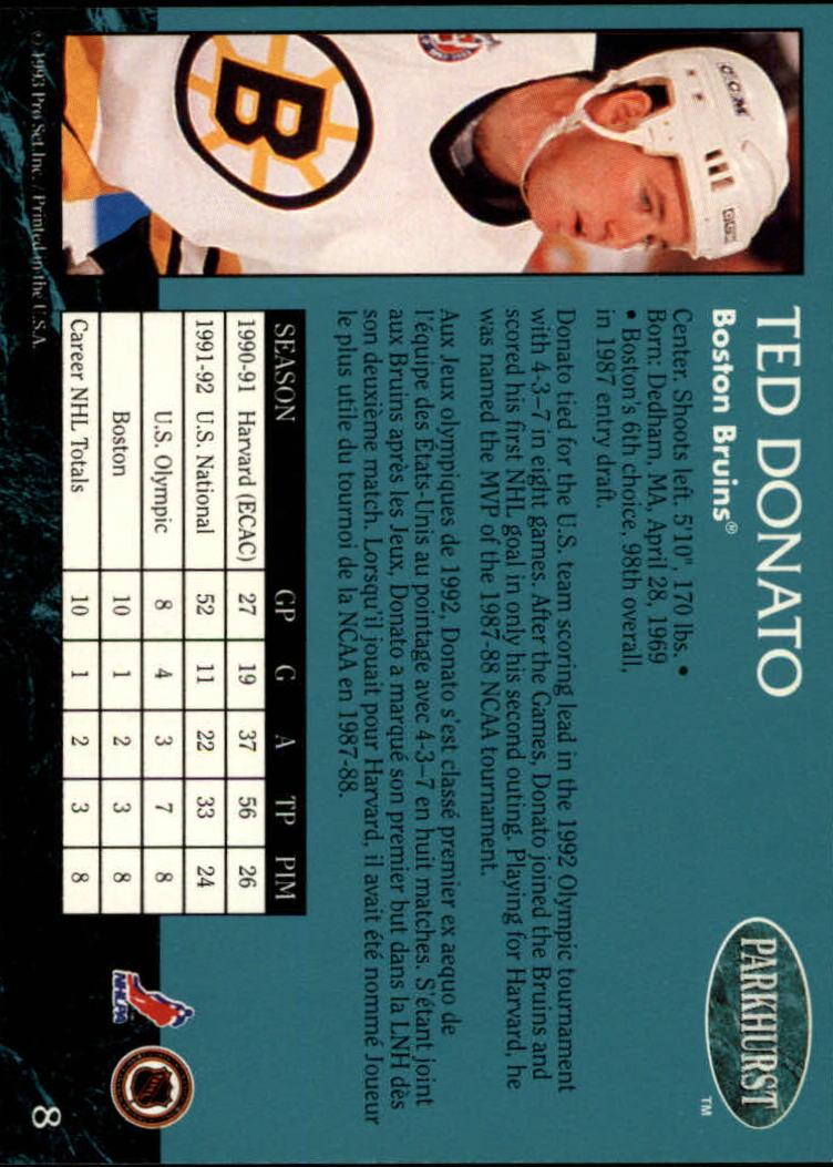 1992-93 Parkhurst #8 Ted Donato back image