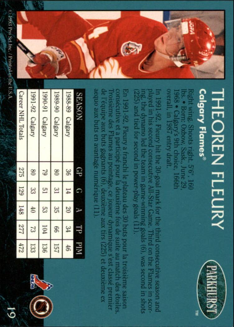 1992-93 Parkhurst #19 Theo Fleury back image