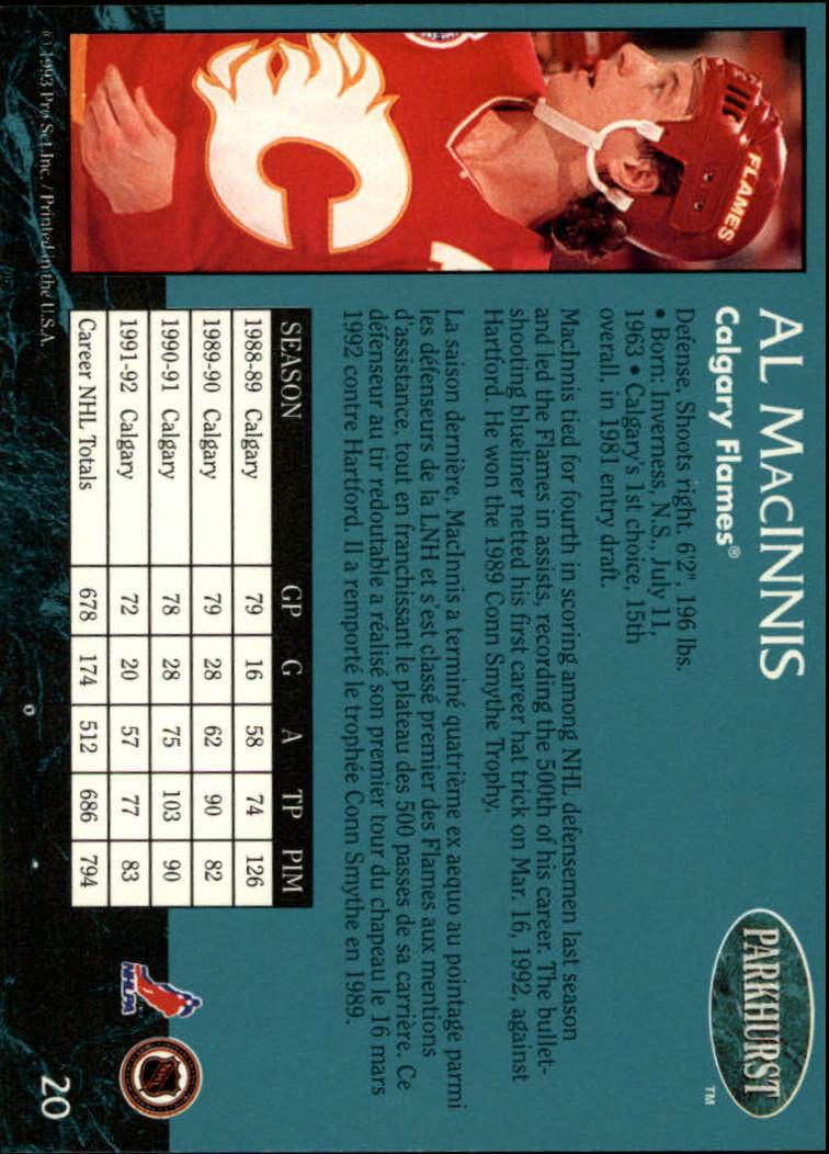 1992-93 Parkhurst #20 Al MacInnis back image