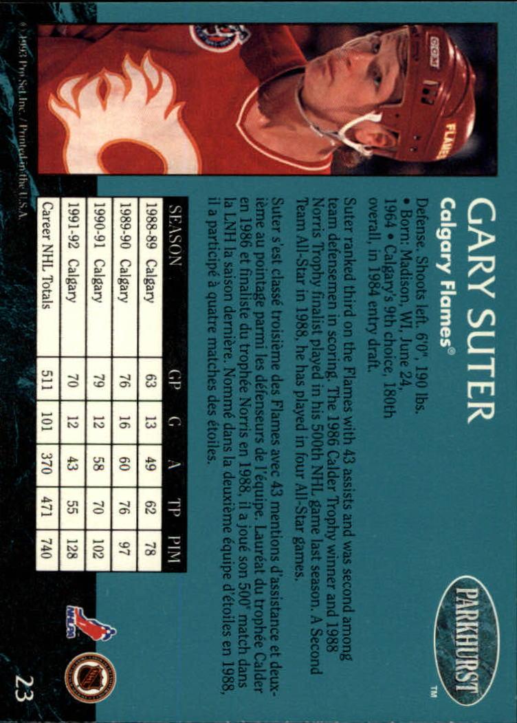 1992-93 Parkhurst #23 Gary Suter back image