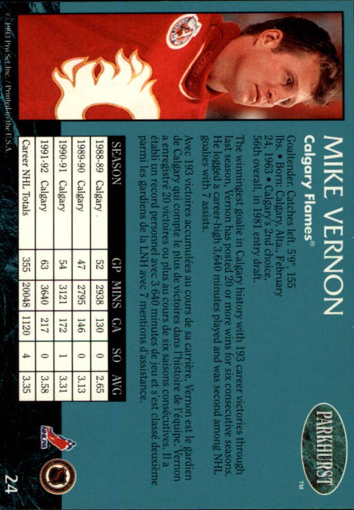 1992-93 Parkhurst #24 Mike Vernon back image