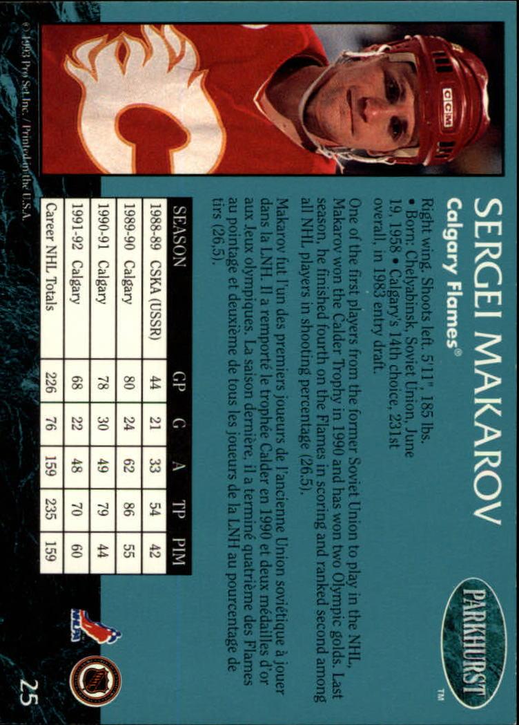1992-93 Parkhurst #25 Sergei Makarov back image