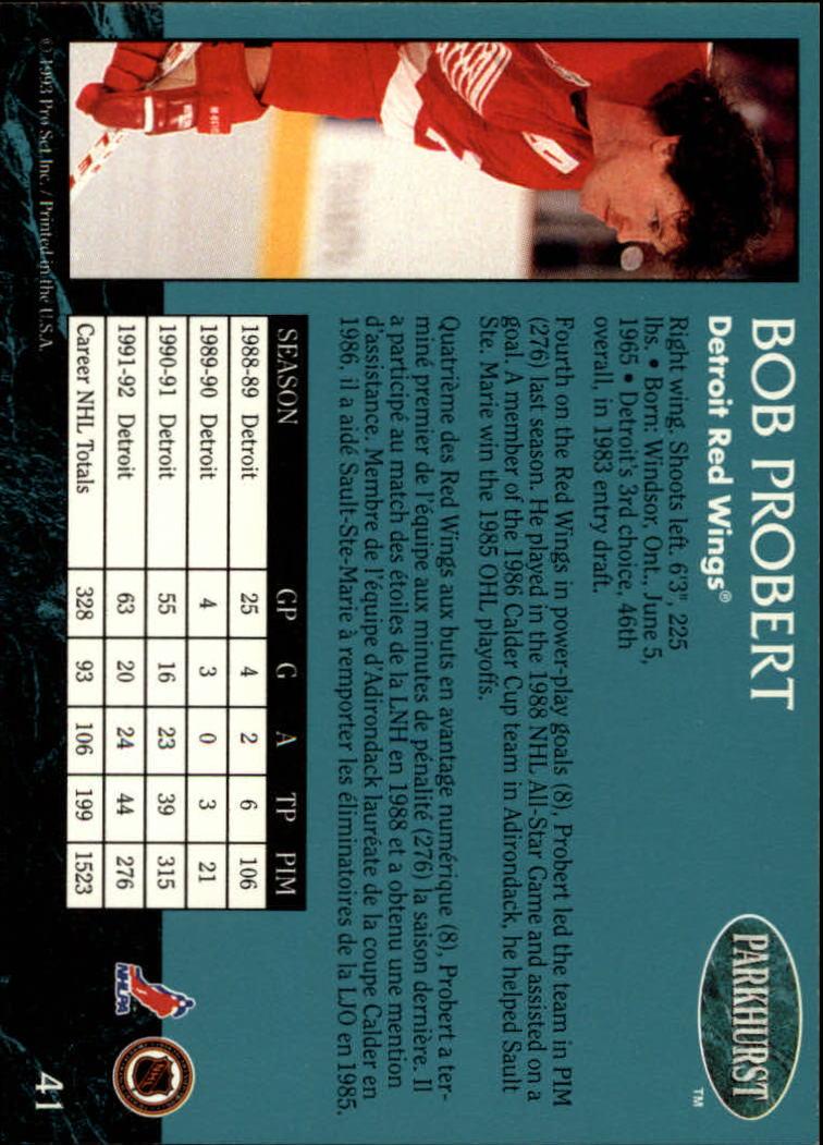 1992-93 Parkhurst #41 Bob Probert back image