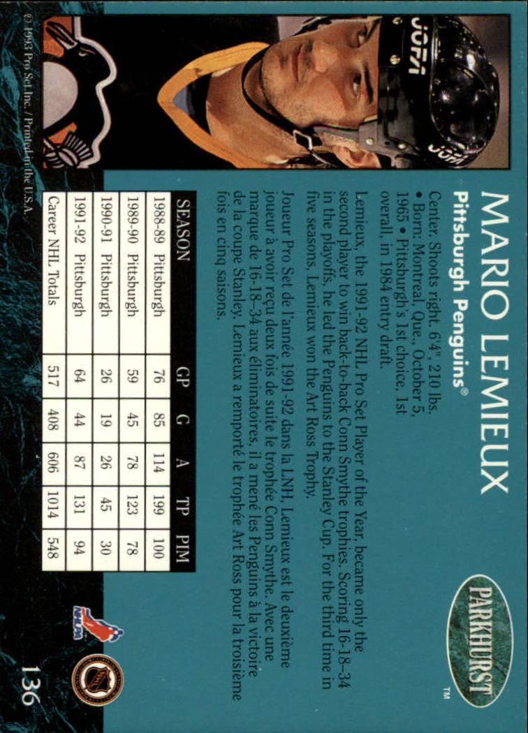 1992-93 Parkhurst #136 Mario Lemieux back image