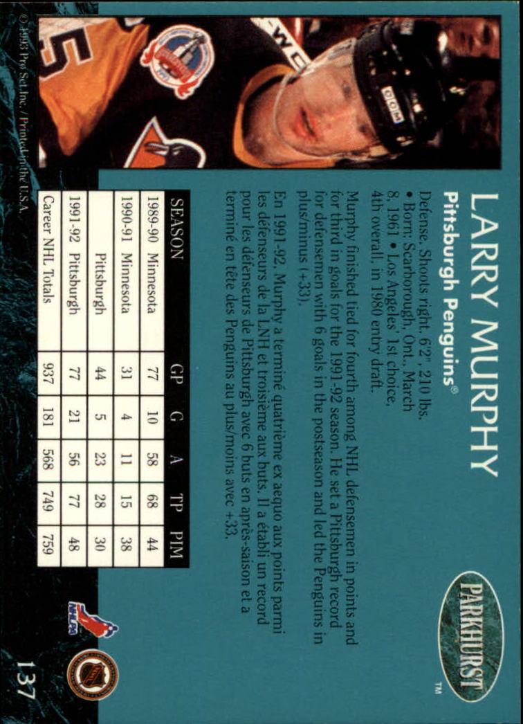 1992-93 Parkhurst #137 Larry Murphy back image