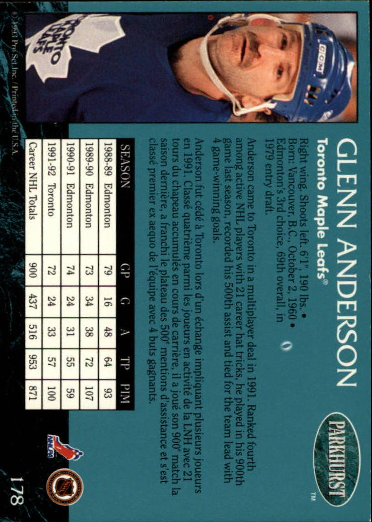 1992-93 Parkhurst #178 Glenn Anderson back image