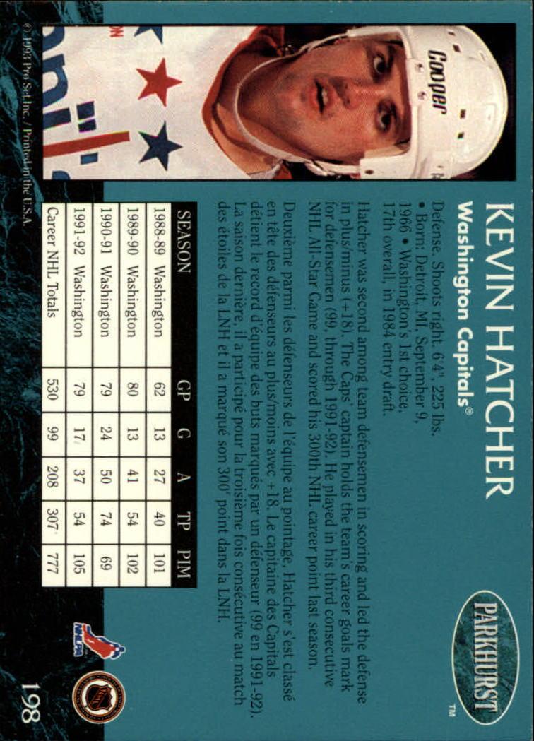 1992-93 Parkhurst #198 Kevin Hatcher back image