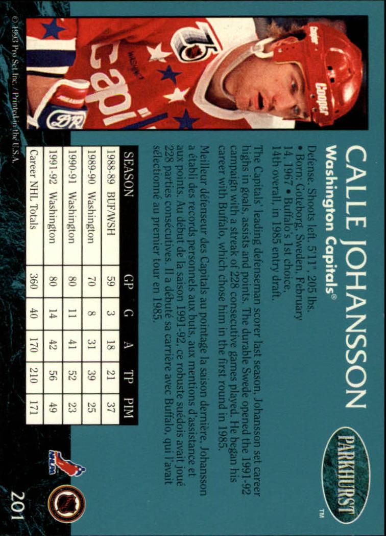 1992-93 Parkhurst #201 Calle Johansson back image