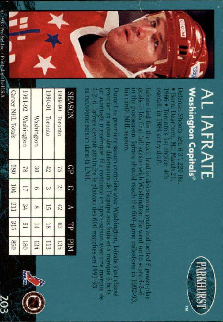 1992-93 Parkhurst #203 Al Iafrate back image