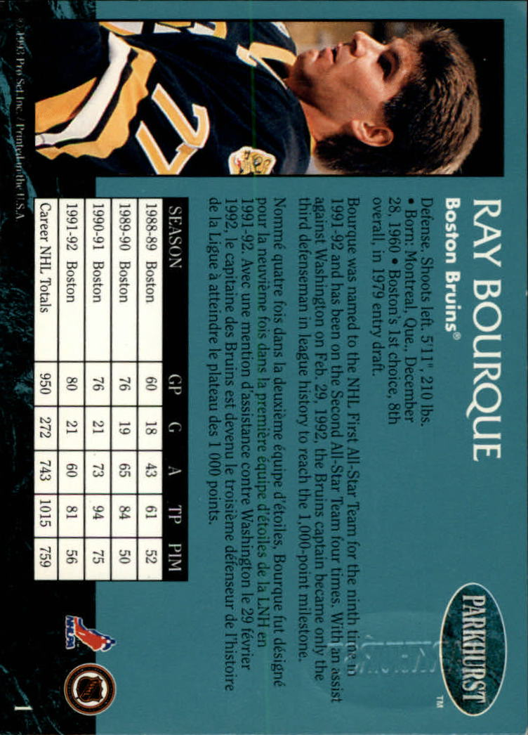 1992-93 Parkhurst Emerald Ice #1 Ray Bourque back image