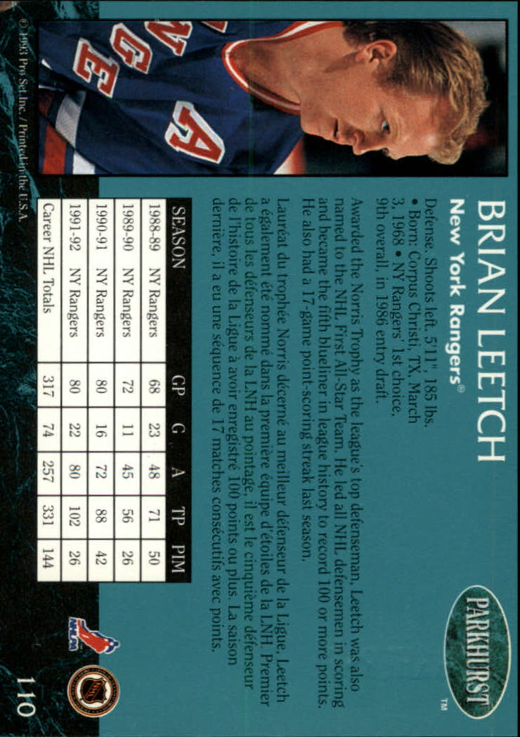 1992-93 Parkhurst Emerald Ice #110 Brian Leetch back image
