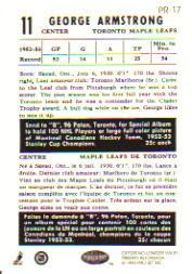 1992-93 Parkhurst Parkie Reprints #PR17 George Armstrong back image