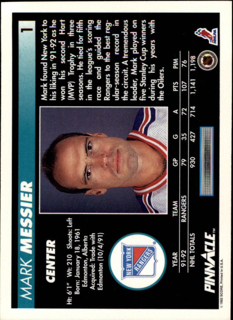 1992-93 Pinnacle #1 Mark Messier back image