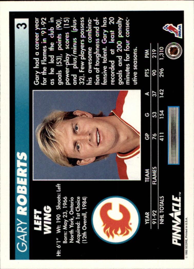 1992-93 Pinnacle #3 Gary Roberts back image