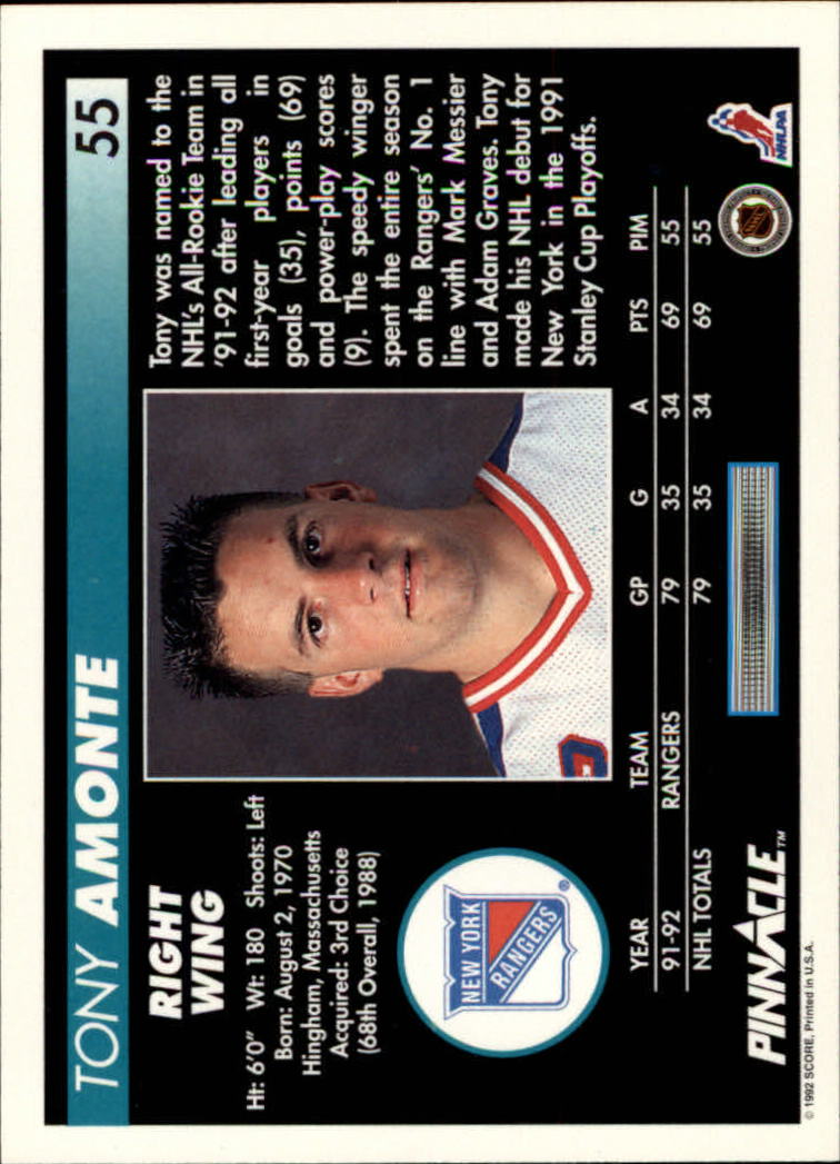 1992-93-Pinnacle-American-HK-039-s-1-210-You-Pick-Buy-10-cards-FREE-SHIP miniature 111