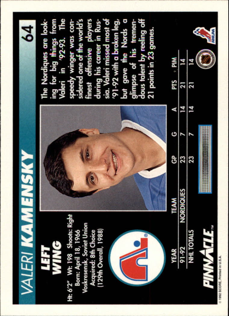 1992-93-Pinnacle-American-HK-039-s-1-210-You-Pick-Buy-10-cards-FREE-SHIP miniature 129