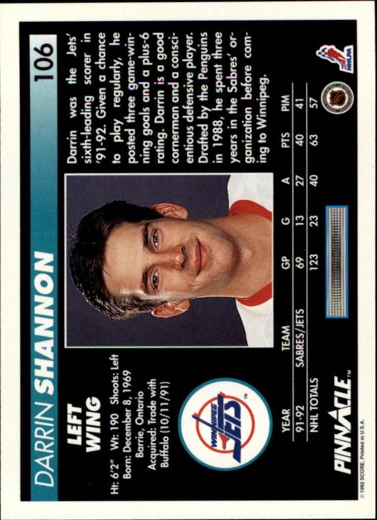 1992-93-Pinnacle-American-HK-039-s-1-210-You-Pick-Buy-10-cards-FREE-SHIP miniature 211