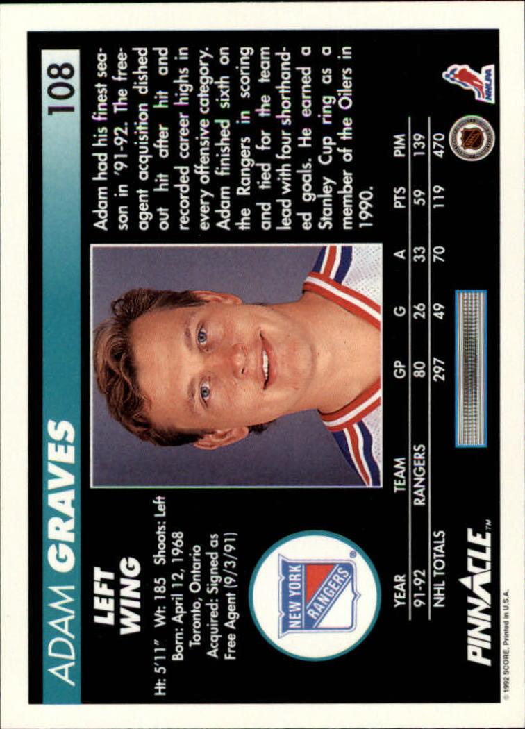 1992-93-Pinnacle-American-HK-039-s-1-210-You-Pick-Buy-10-cards-FREE-SHIP miniature 215