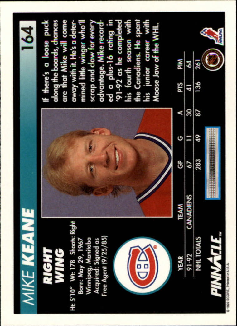1992-93-Pinnacle-American-HK-039-s-1-210-You-Pick-Buy-10-cards-FREE-SHIP miniature 319