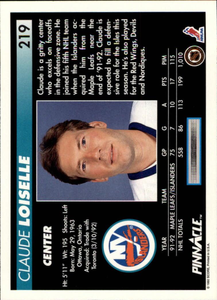 1992-93-Pinnacle-American-HK-039-s-1-210-You-Pick-Buy-10-cards-FREE-SHIP miniature 427