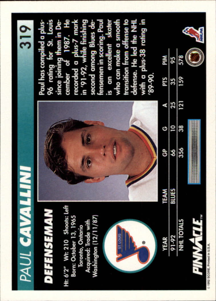 1992-93 Pinnacle #319 Paul Cavallini back image