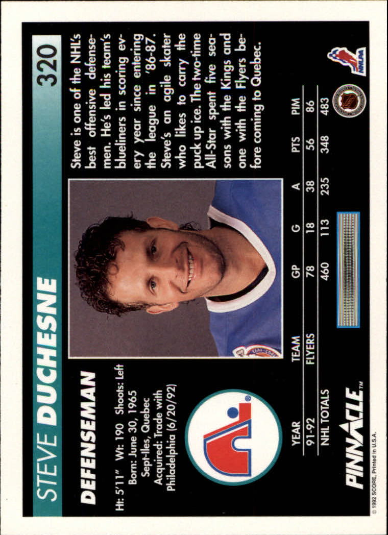 1992-93 Pinnacle #320 Steve Duchesne back image